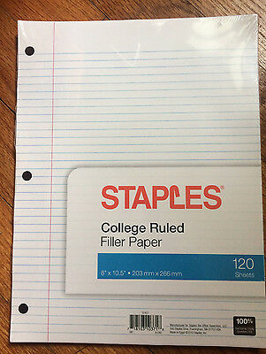 "Staples College Ruled Filler Paper, Loose leaf paper 8"" X 10.5"" 120 Sheets"