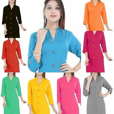Indian Bollywood Style cotton Kurti Kurta Pakistani Stylis TopTunic Women Casual