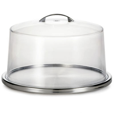 """Tablecraft H820P422 Tabletop 13"""" Stainless Steel Cake Plate with Clear Cover"""