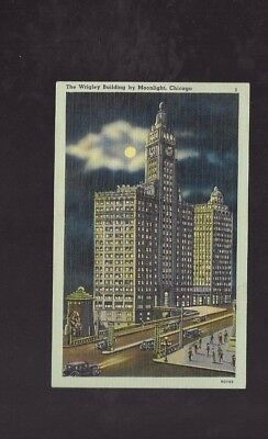 Vintage Postcard The Wrigley Building By Moonlight Chicago  Old Cars