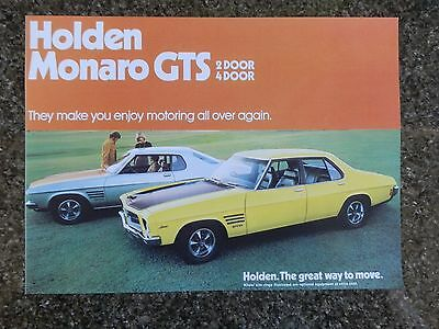 Holden 1973 Hq Gts Monaro Sales Brochure  100% Guarantee.