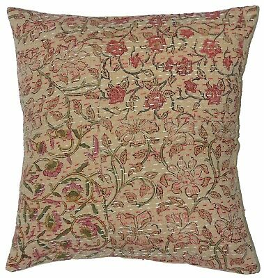 5 Pcs Indian Handmade Kantha Cushion Cover Floral Handblock Patchwork Sham Cover