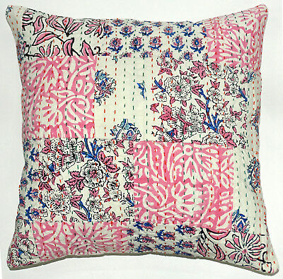 5 Pcs Indian Handmade Kantha Cushion Cover Handblock Floral Patchwork Sham Cover
