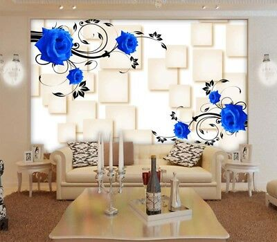 Blue Rose Cube Brick 3D Full Wall Mural Photo Wallpaper Printing Home Kids Decor