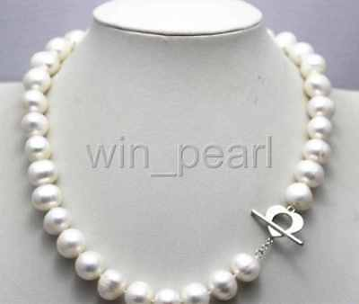 NEW Fresh water pearl necklace white nearround 10-11mm 18INCH alloy clasp