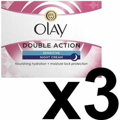 3 x Olay Double Action Anti-Wrinkle Sensitive Skin Night Cream Moisturiser 50ml