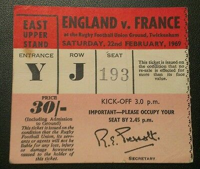 Rare 1969 Rugby Union Twickenham Ticket