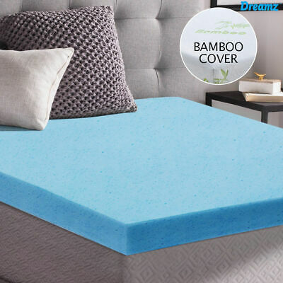 Cool Gel Memory Foam Mattress Topper BAMBOO Fabric Cover Double Protector 8CM AU