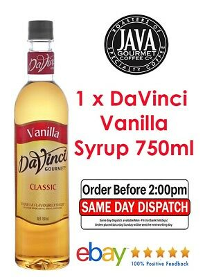 1 x DaVinci Vanilla Flavoured Syrup 750ml ** FREE SHIPPING ** Fast Dispatch **