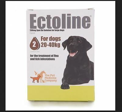 Ectoline Treatment Of Flea and Tick Infestations For Dogs 20-40kg 2 x 2.68ml