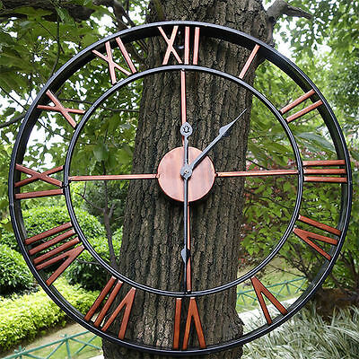 Large Outdoor Garden Wall Clock Big Roman Numerals Giant Open Face Metal  HC