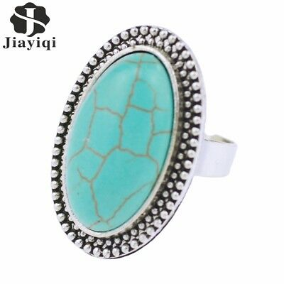 2017 Fashion Green Stone Rings Antique Color Ring With Drop Round Squares Sty...