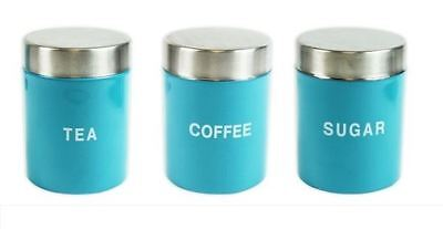 NEW BLUE 3PC Canister Stainless Steel Tea Coffee Sugar Kitchen