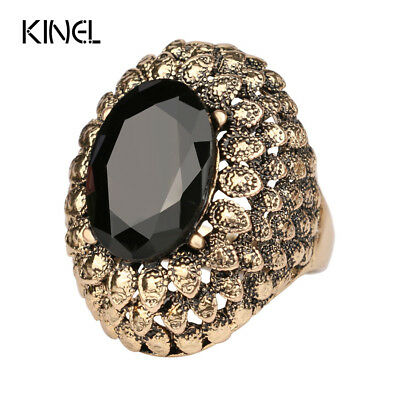 LY Vintage Jewelry Punk Big Ring Black Friday Cheap Sell Color Ancient Gold R...