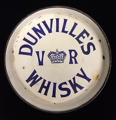 Rare Antique Victorian Dunville's VR Whisky Enamelled Tray Made in Belfast