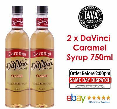 2 x DaVinci Classic Caramel Flavoured Syrup 750ml Bottle Cafe Home Baking