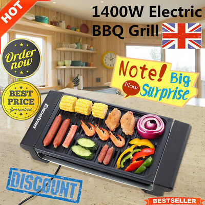 1400W Electric BBQ Barbecue Teppanyaki Table Top Grill Griddle Indoor Grills UK