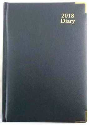 New 2018 Dairy A5 Week To Page Executive Black w Gold Edge Corner Business Diary