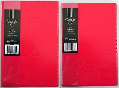 New 2018 Diary A5 Week To Page Embossed Cover A5 Week To An Opening Diary Red