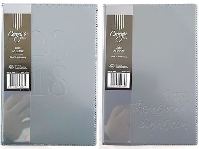 New 2018 Diary A5 Week To Page Embossed Cover A5 Week To An Opening Diary Grey