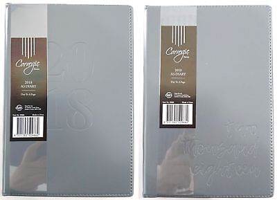 New 2018 Diary A5 Day To Page Embossed Cover A5 Day To An Opening Diary Grey