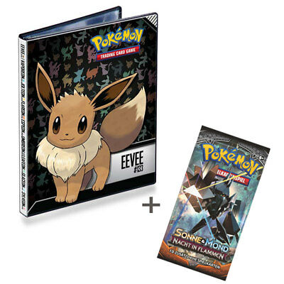 Pokemon Set: SAMMELALBUM PLUS BOOSTER/KARTEN - SONNE & MOND 3 - EVOLI - DIN A5