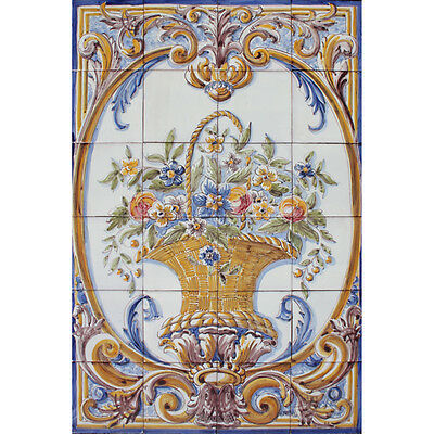 Portuguese Traditional Clay Azulejos Tiles Panel Mural COLORED FLOWERS BASKET