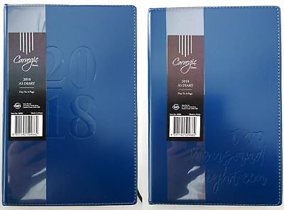 New 2018 Diary A5 Day To Page Embossed Cover Day To An Opening Diary Navy Blue