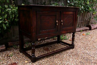 A Small Joined Standing Livery Cupboard; English, Oak