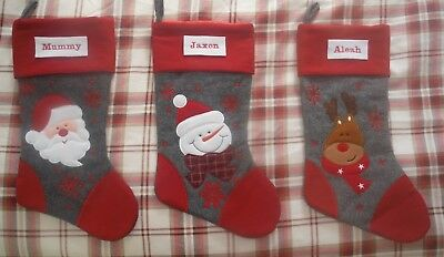 Personalised Embriodered Christmas stocking - Santa-Snowman-Reindeer
