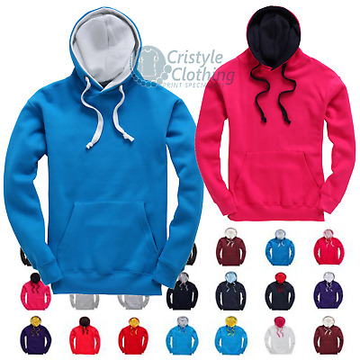 Premium Contrast Sports Hoodie Unisex Two Colour Hoodys for Men and Women