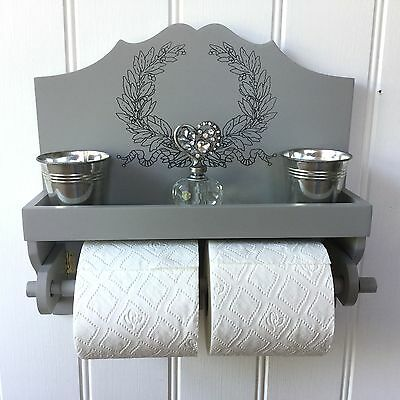 Shabby Chic French Grey Toilet Roll Holder Shelf Unit Storage Vintage Style NEW