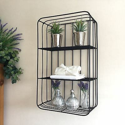 Seconds Vintage Industrial Style Metal Wall Shelf Unit Rack Storage Cabinet New