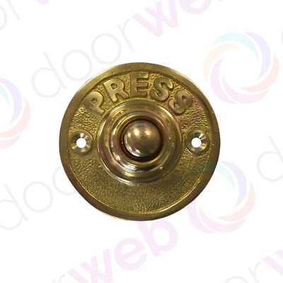 VICTORIAN VINTAGE DOOR BELL PUSH Solid Brass Round Front Antique Chime Press