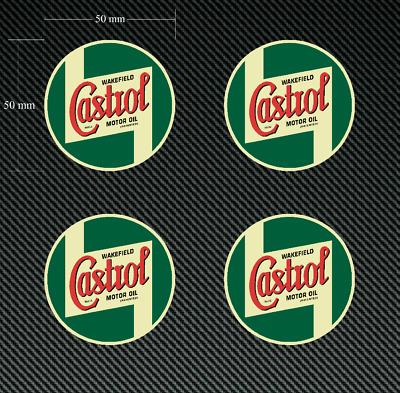 4 x 50mm Castrol Wakefield Retro Stickers/Decals - Quality Printed & Laminated