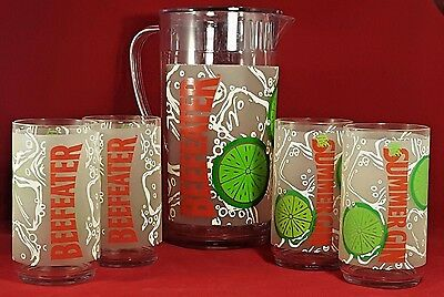 BEEFEATER GIN Pitcher Set RUBBERMAID Summer Gin Tumblers