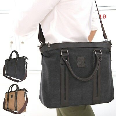 Compact CANVAS LEATHER BRIEFCASE Bag Laptop School College University Work S910