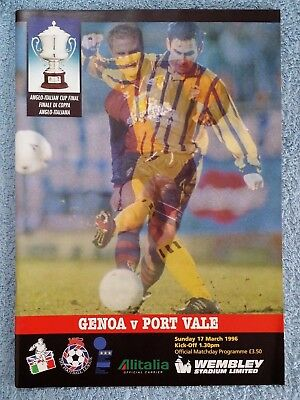 1996 - ANGLO ITALIAN CUP FINAL PROGRAMME - GENOA v PORT VALE - V.G CONDITION