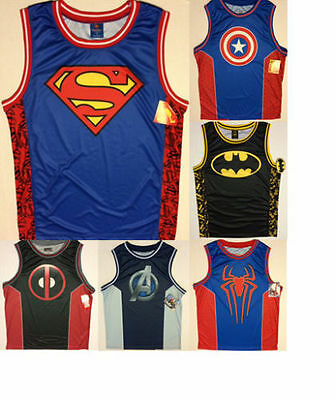 e91a94111e71 Marvel DC Comic Super Hero Tank Top Basketball Jersey Captain America  Spiderman