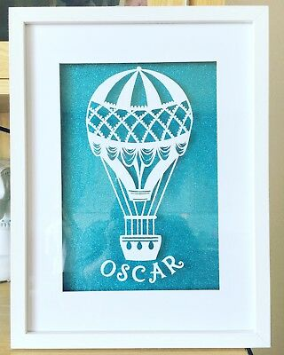 Personalised paper cut, new baby, christening