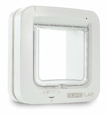 Microchip Cat Flap 4 Way Manual Locking Pet Flap Battery Power Display White NEW