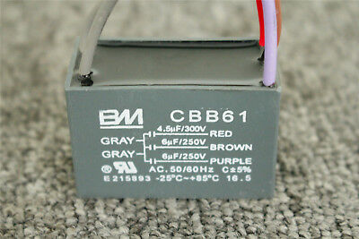 CBB61 250V/300VAC 4.5uf+6uf+6uf 5 Wires Capacitor for Ceiling Fan