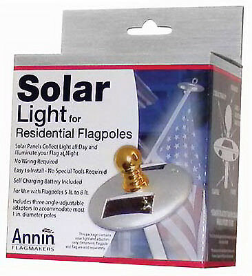 Annin Flagmakers 752250 Flag Pole Solar Light, Mini, Silver