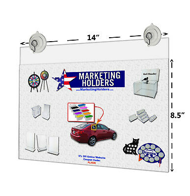 "14""W x 8.5""H Window Mount Ad Frame/Sign Holder with 2 Suction Cups with Hooks"