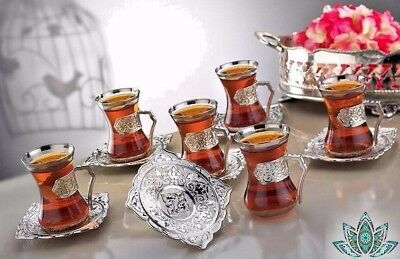 Ottoman Arabic Silver Brass Tea Coffee Saucers Cups Tray Set of 6