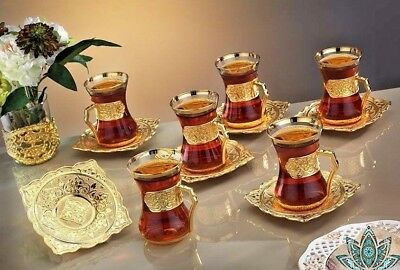 Ottoman Arabic Silver Brass Tea Coffee Saucers Cups Tray Set 6  Uk Seller