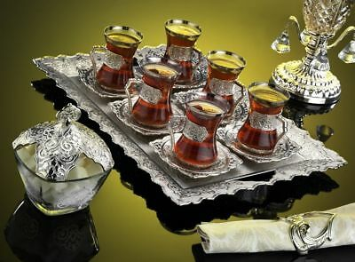 Ottoman Arabic Turkish Silver Brass Tea Coffee Saucers Cups Tray Set of 6