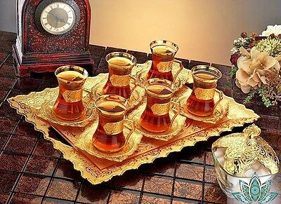 Ottoman Turkish Silver Brass Tea Coffee Saucers Cups Tray Set of 6