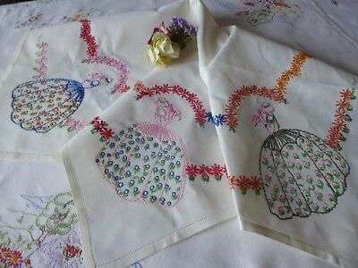Vintage Hand Embroidered Tablecloth/ Charming Crinoline Ladies & Garlands
