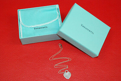 Auth Return To Tiffany & Co. Sterling Silver Heart Tag Dangle Pendant Necklace